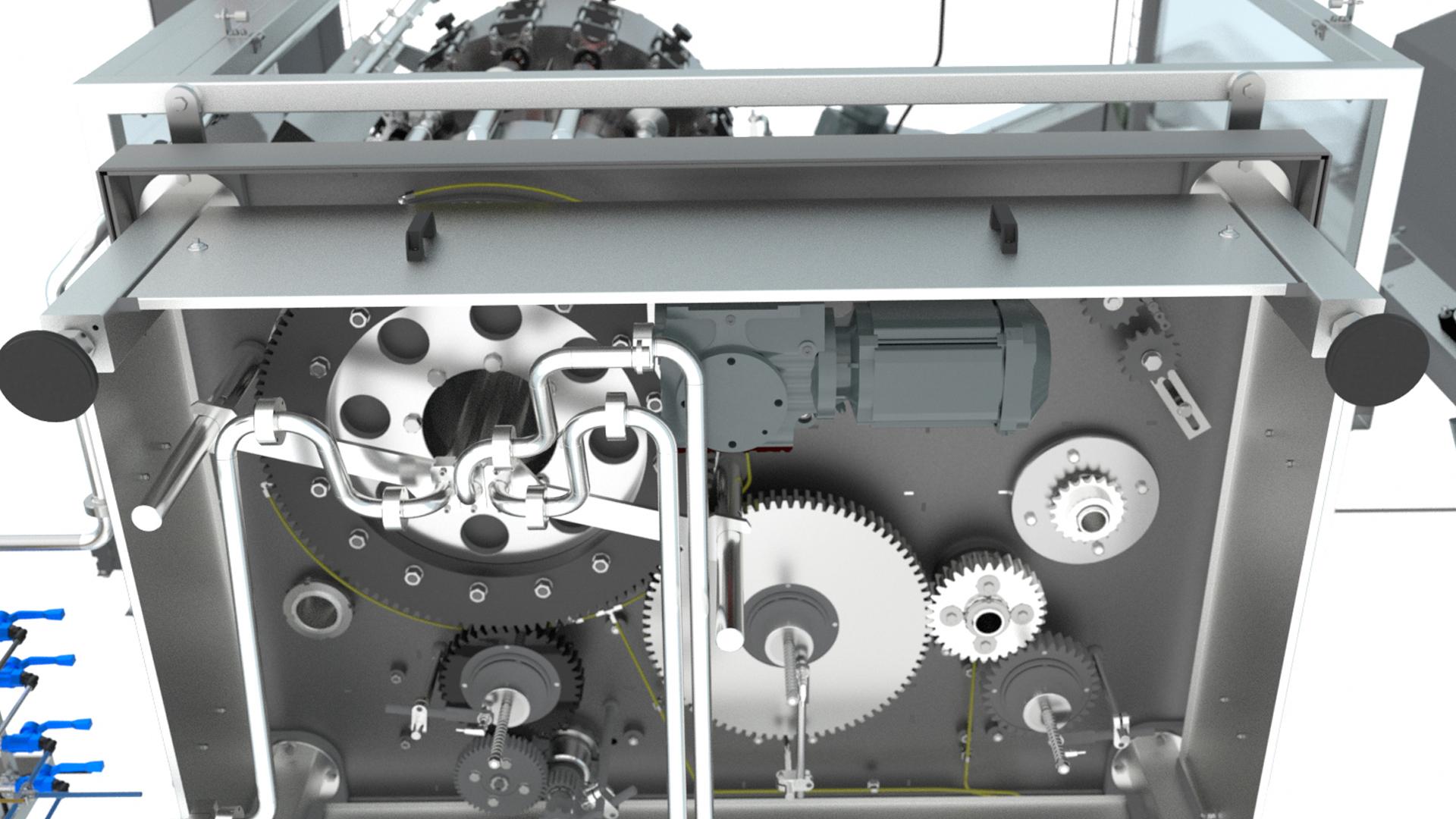 Maschinengehäuse von unten Übersichtliche Anordnung der Antriebs- und Versorgungstechnik